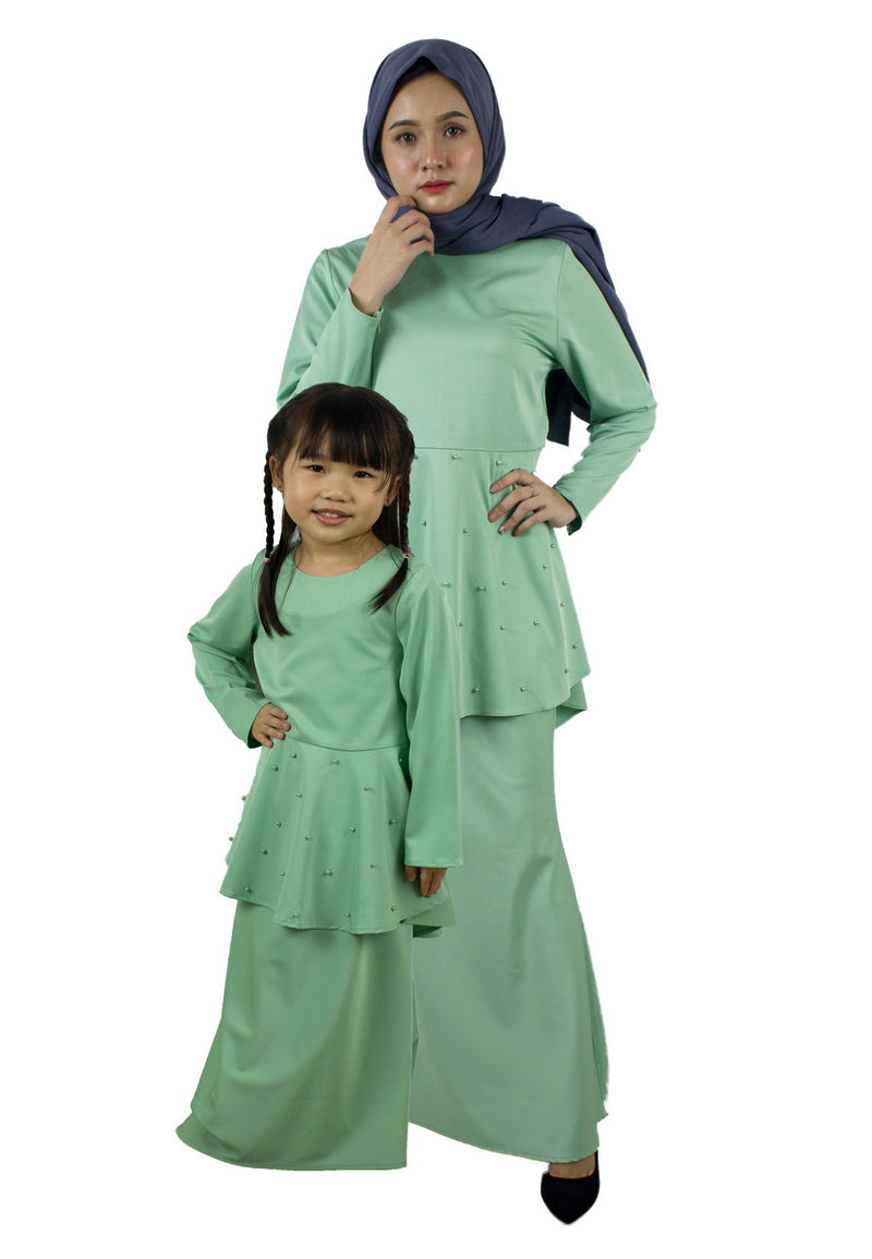 Exhaust Baju Kurung Fashion Adult & Kids -83925NL- Light Green - Exhaust Garment
