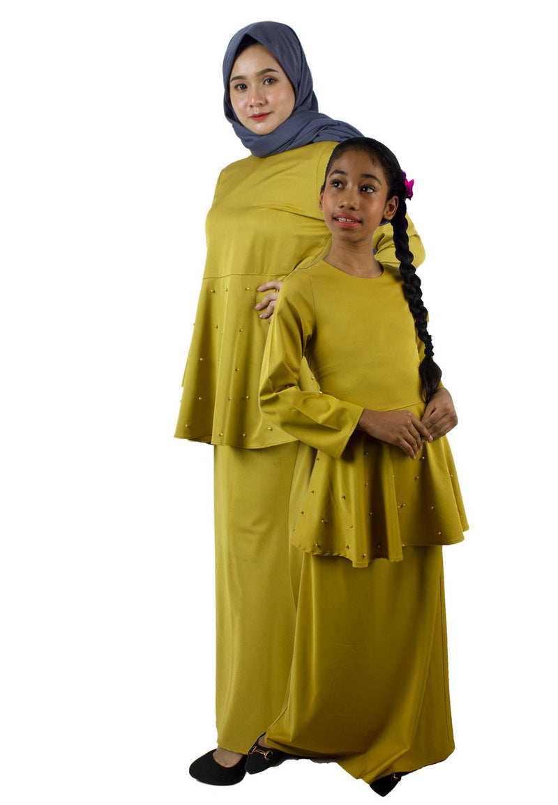 Exhaust Baju Kurung Fashion Adult & Kids -83925NL- Gold Yellow - Exhaust Garment