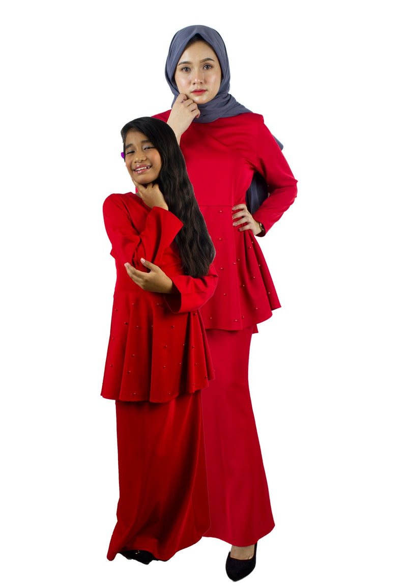 Exhaust Baju Kurung Fashion Adult & Kids -83925NL- Red - Exhaust Garment