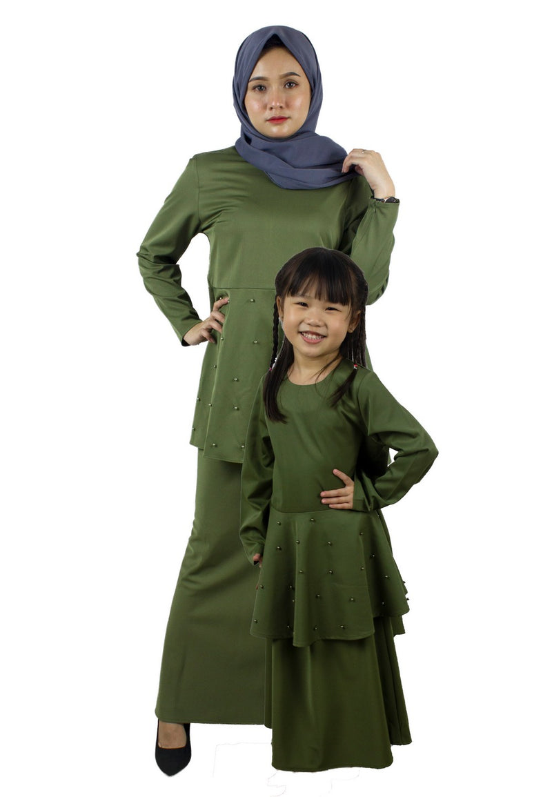 Exhaust Baju Kurung Fashion Adult & Kids -83925NL- Army Green - Exhaust Garment