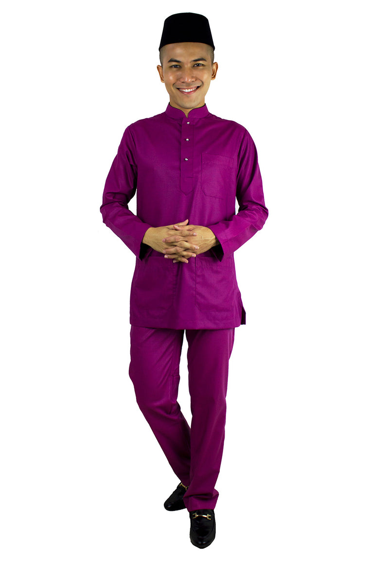 Baju Melayu Modern Top & Pants Set -Dark Purple / Purple / Pink - Exhaust Garment