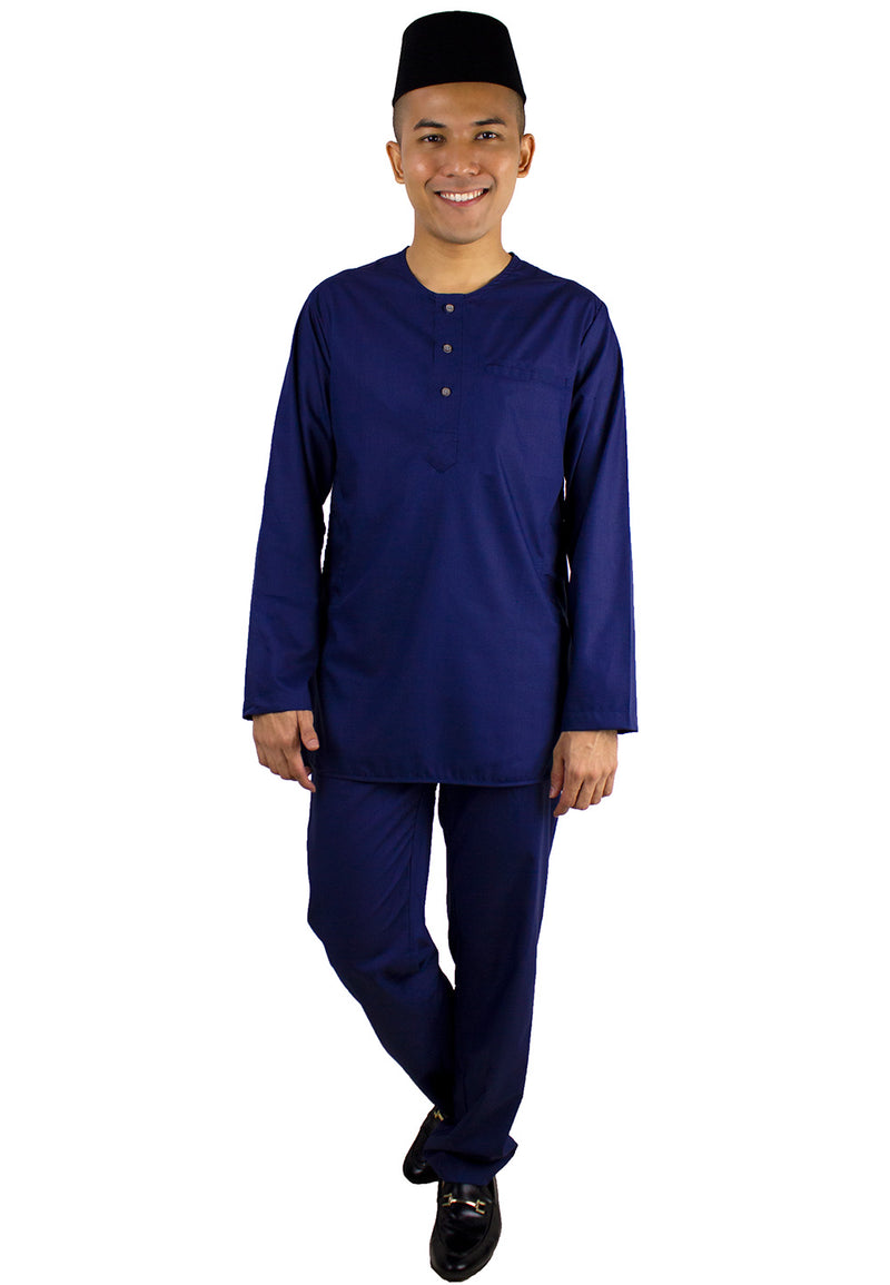 Baju Melayu Modern Set (No Collar) - Navy / Dark Grey - Exhaust Garment