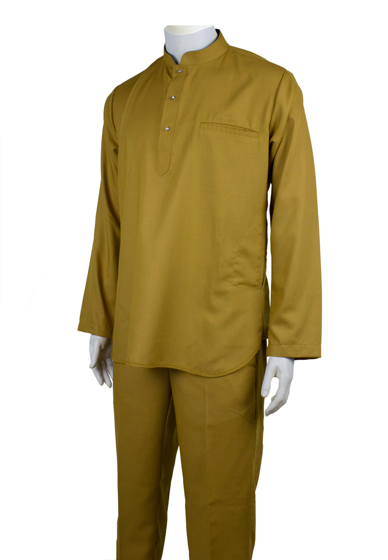 Baju Melayu Modern Fashion (Gold Yellow / Maroon)88631NSL - Exhaust Garment