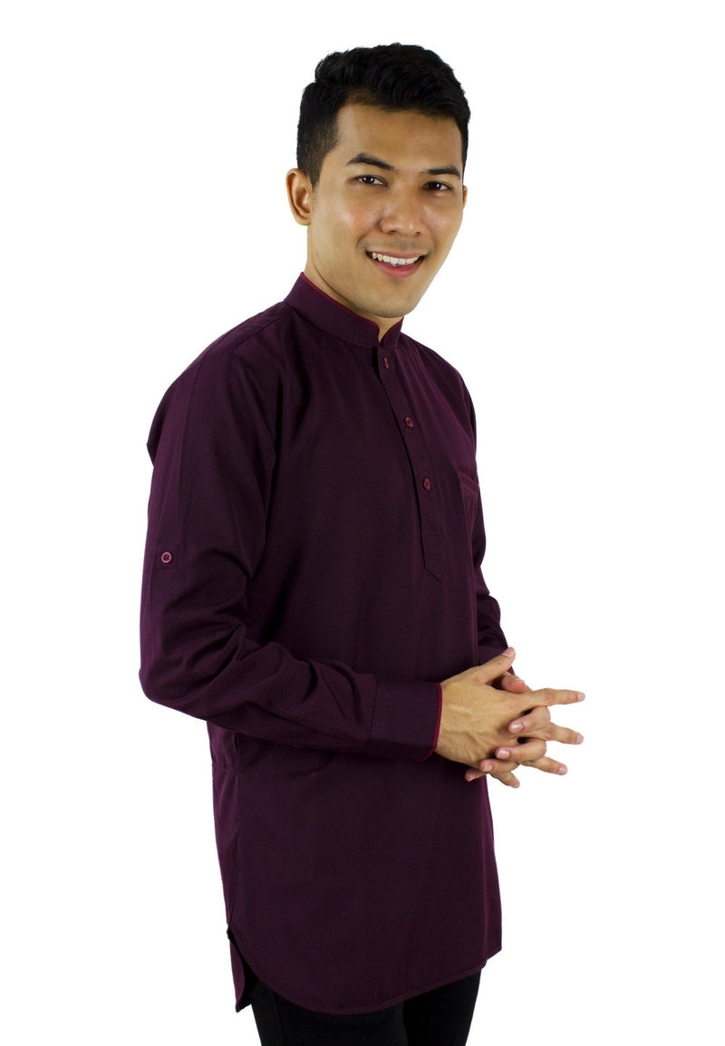 Baju Kurta Modern - Dark purple/ Dark Brown-89636NSL - Exhaust Garment