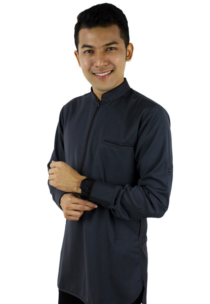 Baju Kurta Modern Zip Top - Dark Grey / Black-89637NSL - Exhaust Garment