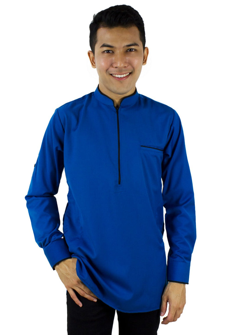 Baju Kurta Modern Zip Top - Blue / Navy / Blue Green-89637NSL - Exhaust Garment