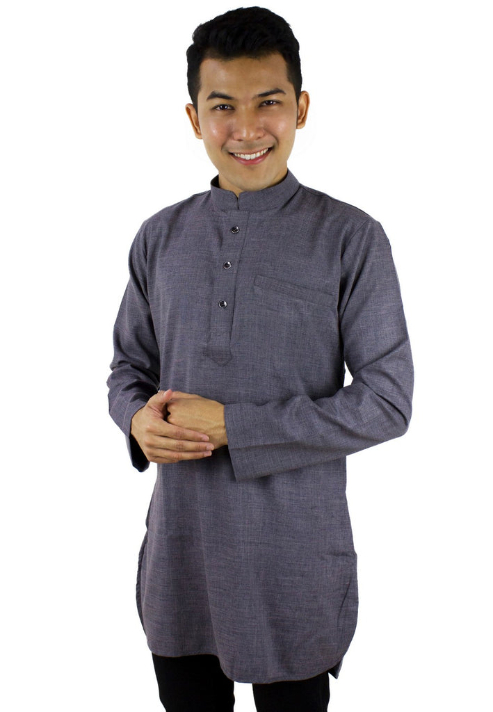 Baju Kurta Slim Fit Linen - Grey / Blue-89669NSL - Exhaust Garment