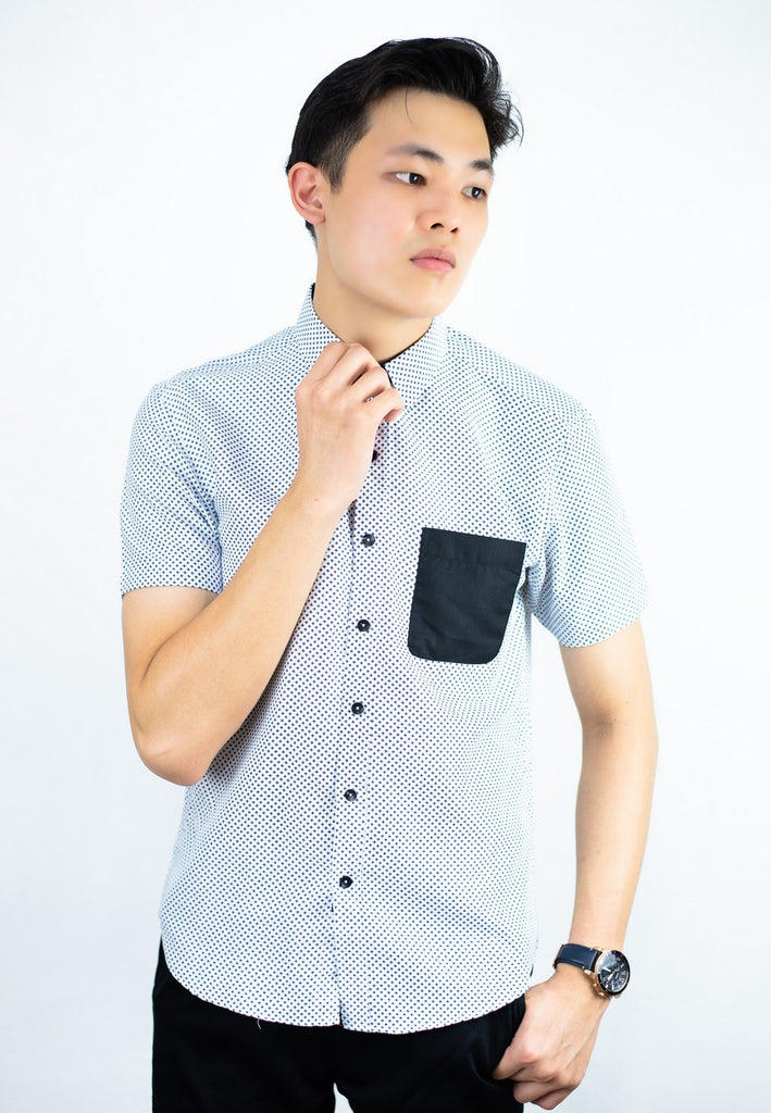 Smart Look Shirt with Contrast Pocket and Dot Printing 742 - Exhaust Garment