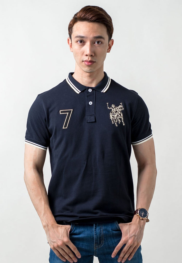 Polo Tee with Double Horse + 7 Embroidery 564 - Exhaust Garment