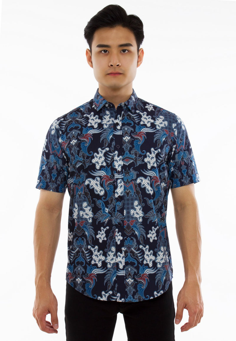 Batik Printed Short Sleeve Shirt-835 - Exhaust Garment