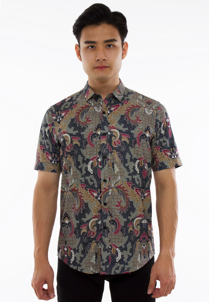 Batik Printed Short Sleeve Shirt-837 - Exhaust Garment