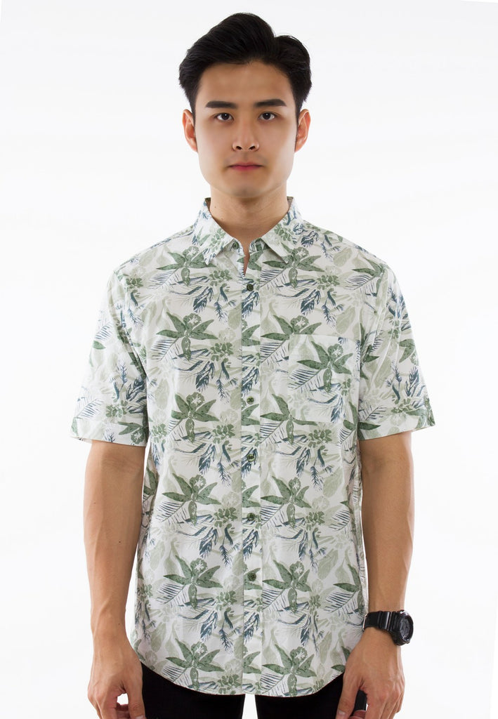 Floral Printed Short Sleeve Shirt - Exhaust Garment