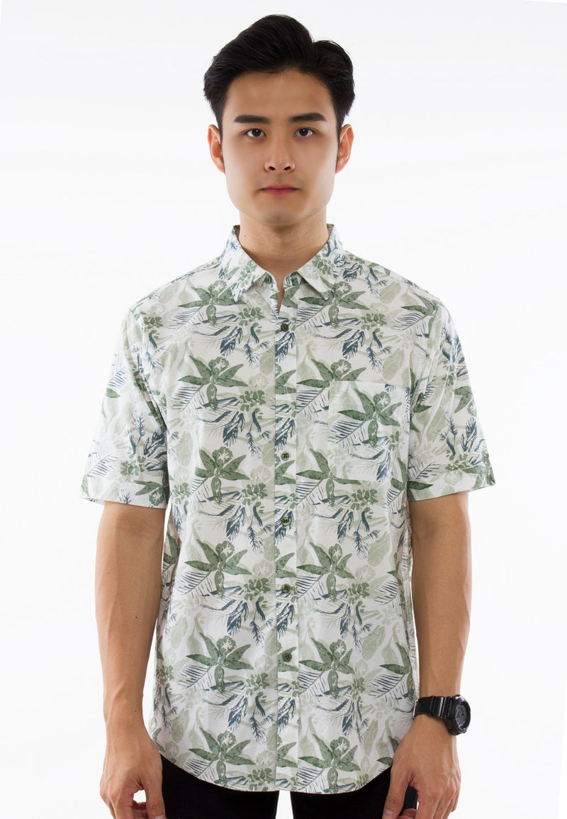 Floral Printed Short Sleeve Shirt-828 - Exhaust Garment