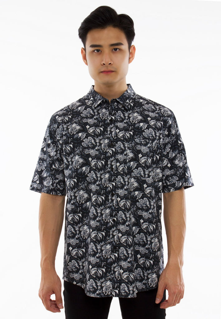 Floral Printed Short Sleeve Shirt-830 - Exhaust Garment