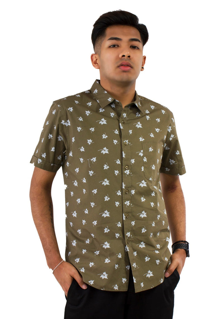 Maple Leaf Printed Short Sleeve Shirt 786 - Exhaust Garment