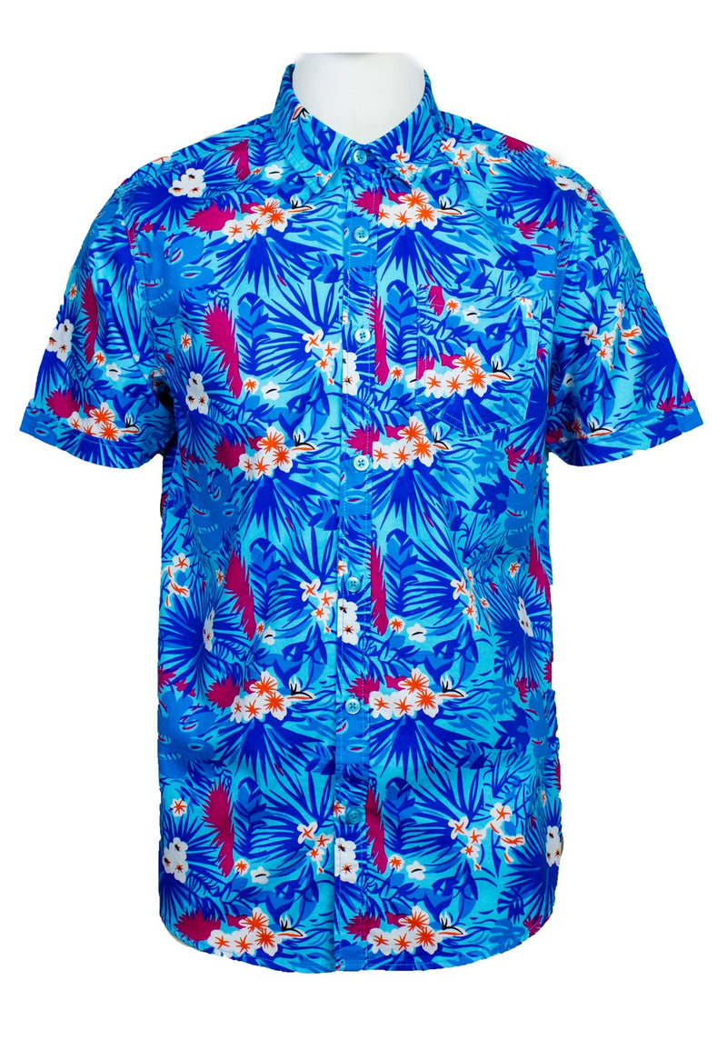 Short Sleeve Shirt with Flower Print-814 - Exhaust Garment