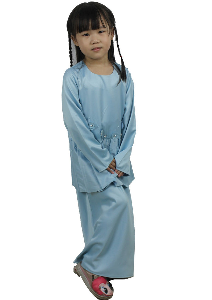 Exhaust Baju Kurung Fashion-83927NSL-Light Blue - Exhaust Garment