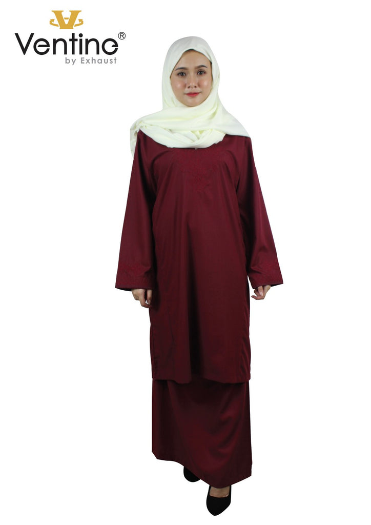 Ventine Baju Kurung-V7500-BK(A)-Dark Red - Exhaust Garment