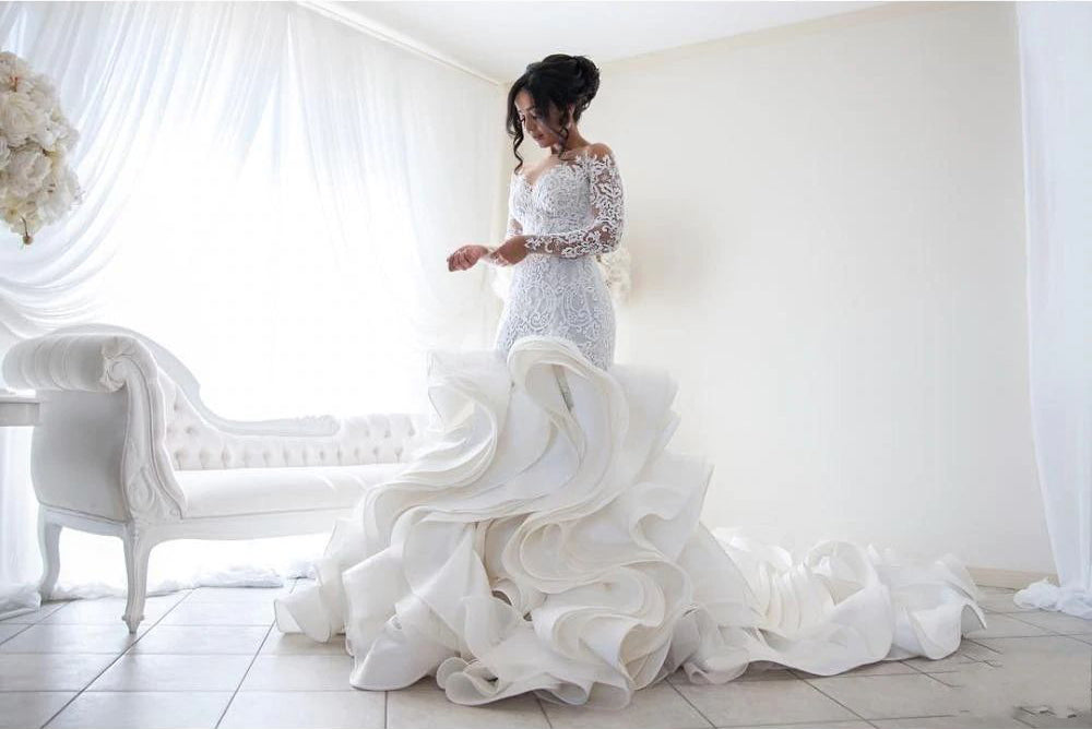 Gorgeous Long Sleeve Ivory Appliques Ruffles Wedding Gowns - Bridelily