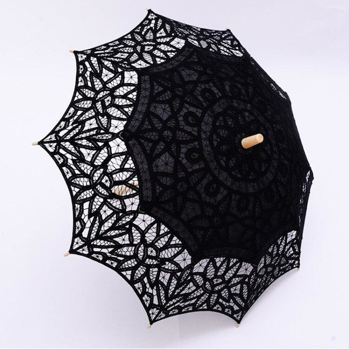 100% Cotton Handmade Lace Wedding Umbrellas | Bridelily - Black - wedding umbrellas