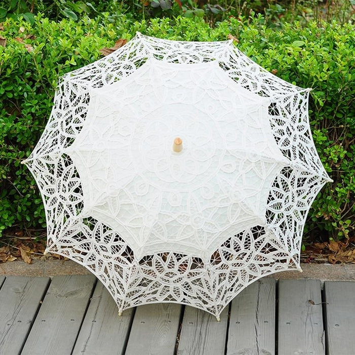 100% Cotton Handmade Lace Wedding Umbrellas | Bridelily - Beige - wedding umbrellas