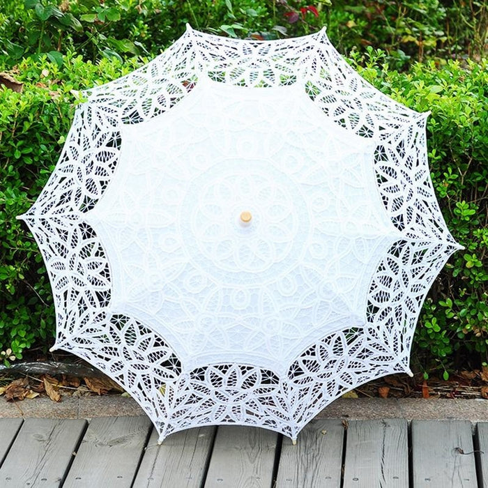 100% Cotton Handmade Lace Wedding Umbrellas | Bridelily - White - wedding umbrellas