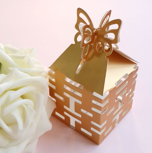 100Pcs Double Happiness Paper Cut Favor Holders | Bridelily - Gold - favor holders