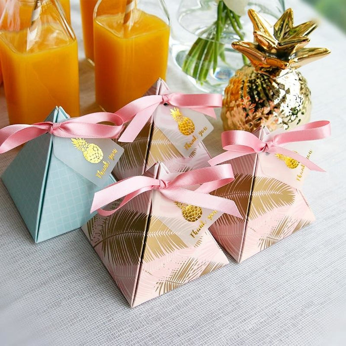 100Pcs Leaves Triangular Pyramid Favor Holders | Bridelily - 72x72x80mm / 50Pcs - favor holders