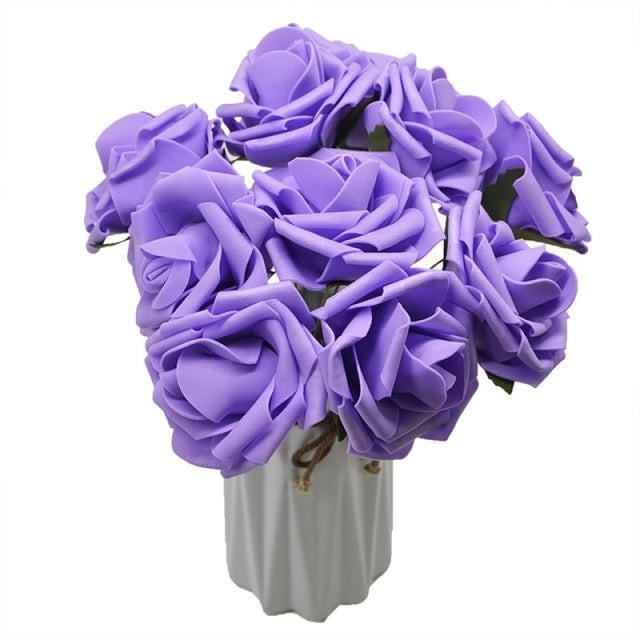 10Heads 8CM Home Decorative Wedding Decorations | Bridelily - purple - wedding decorations