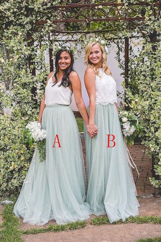 2 Pieces Ivory And Mint Long A-Line Flowy Simple Cheap Elegant Bridesmaid Dresses - Bridesmaid Dresses