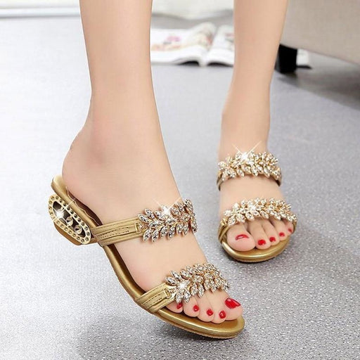 2020 New women shoes slippers summer beach sandals Fashion women Rhinestone outdoor slippers flip flops shoes women mujer - house slippers