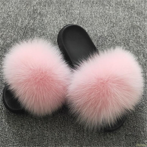 2020 Women Furry Slippers Ladies Shoes Cute Plush Fox Hair Fluffy Sandals Women's Fur Slippers Winter Warm Slippers Women Hot - house