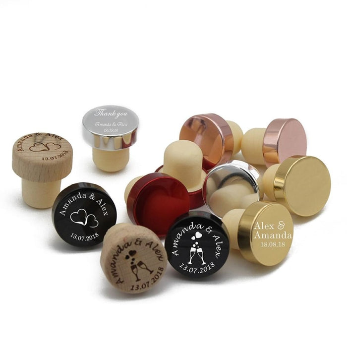 20Pcs Wood Wine Laser Cork Personalized Bottle Favors | Bridelily - bottle favors