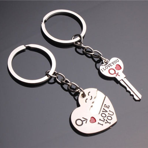 2Pcs Couple For Lover Zinc Alloy Keychain Favors | Bridelily - keychain favors