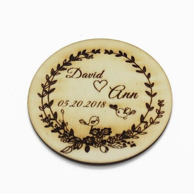 2Pcs Engraved Wooden Round Personalized Bottle Favors | Bridelily - Style 3 - bottle favors