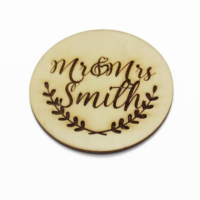 2Pcs Engraved Wooden Round Personalized Bottle Favors | Bridelily - Style 6 - bottle favors