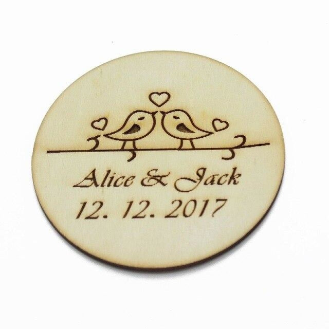 2Pcs Engraved Wooden Round Personalized Bottle Favors | Bridelily - Style 4 - bottle favors