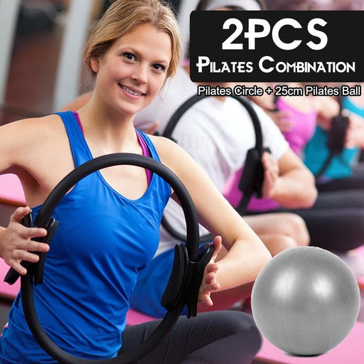 2PCS Pilates Magic Circle Yoga For Muscle Exercise Pilates Combination Fitness Gym Workout Circle - yoga circle