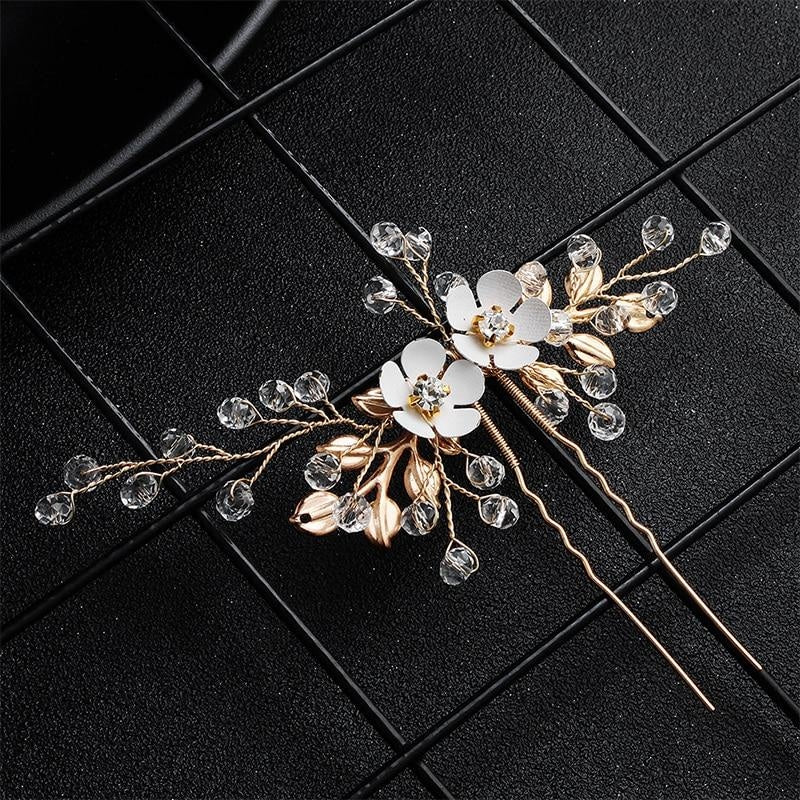 2Pcs/lot Classic Leaves Flowers Hairpins | Bridelily - hairpins