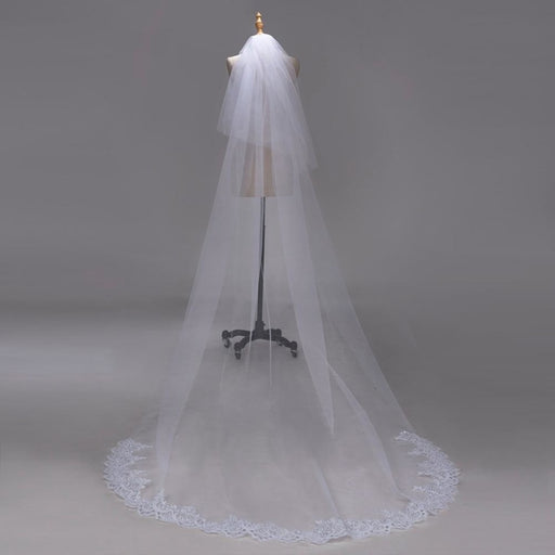 3M Lace Edge Chapel Long with Comb Wedding Veils | Bridelily - WHITE / 300cm - wedding veils