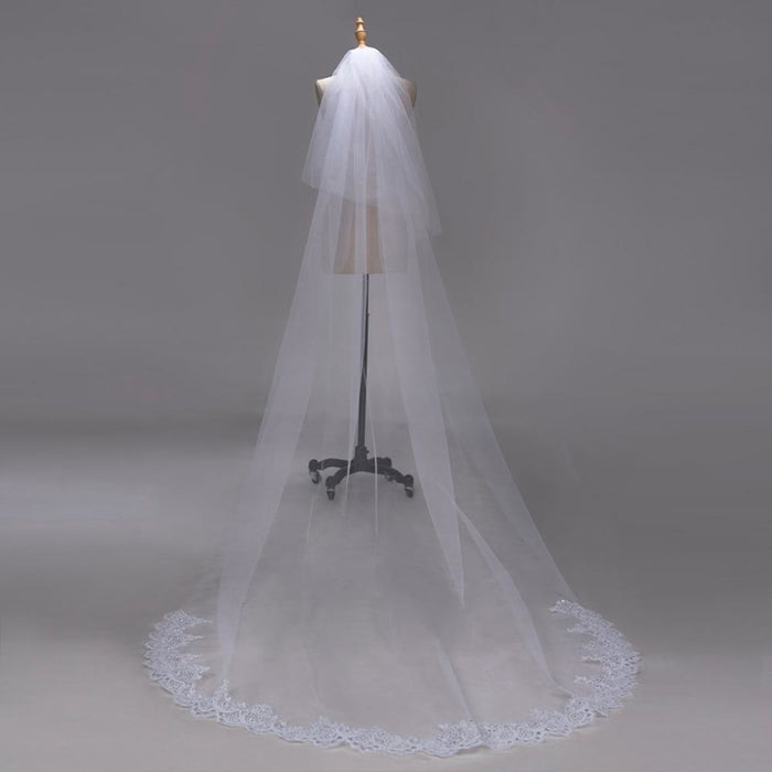 3M Lace Edge Chapel Long with Comb Wedding Veils | Bridelily - wedding veils