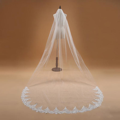 3M One Layer Lace Edge Cathedral Wedding Veils | Bridelily - WHITE - wedding veils