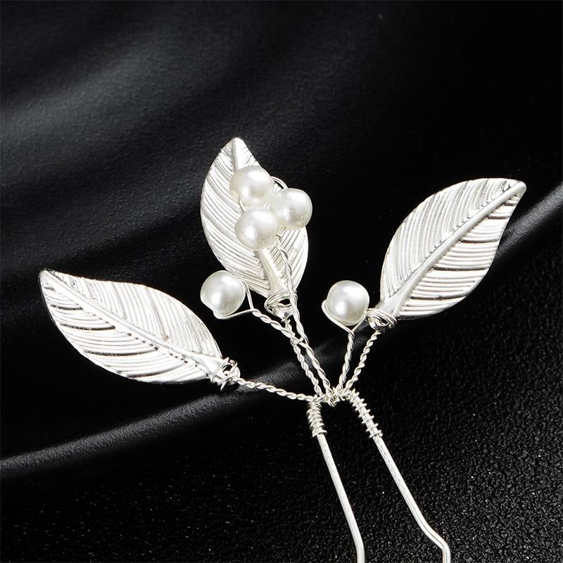 3Pcs/lot Classic Pearls Leaves Womens Hairpins | Bridelily - hairpins