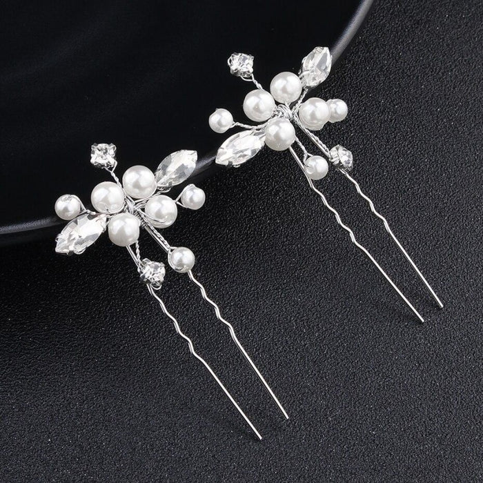 3Pcs/Lot Rhinestone Handmade Pearls Hairpins | Bridelily - hairpins