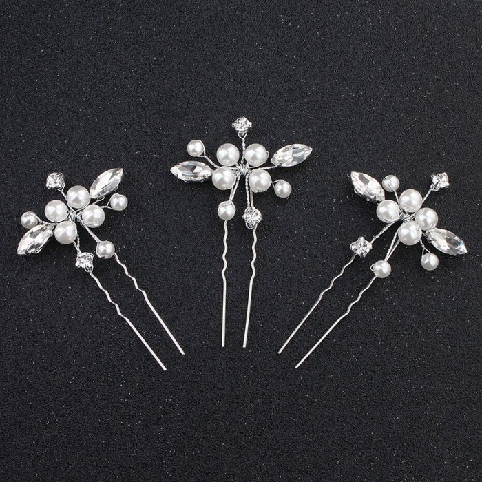 3Pcs/Lot Rhinestone Handmade Pearls Hairpins | Bridelily - 3pcs - hairpins
