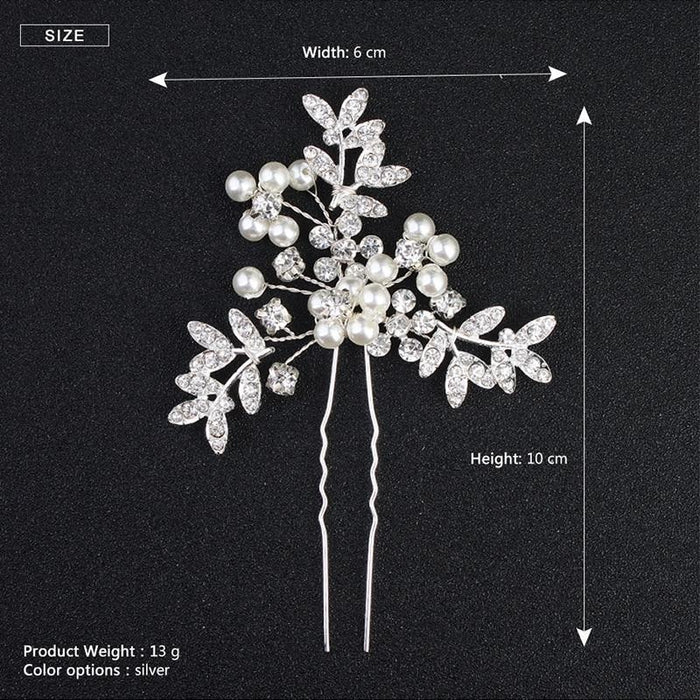 3pcs/lot Women Pearls Crystal Handmade Hairpins | Bridelily - hairpins