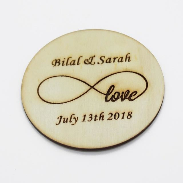 4Pcs Wooden Round Bottle Decor Personalized Favors | Bridelily - Style 1 - botte Favors