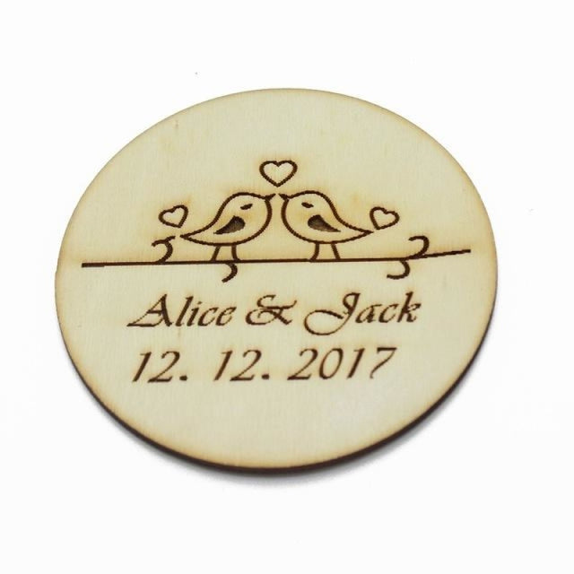 4Pcs Wooden Round Bottle Decor Personalized Favors | Bridelily - Style 4 - botte Favors