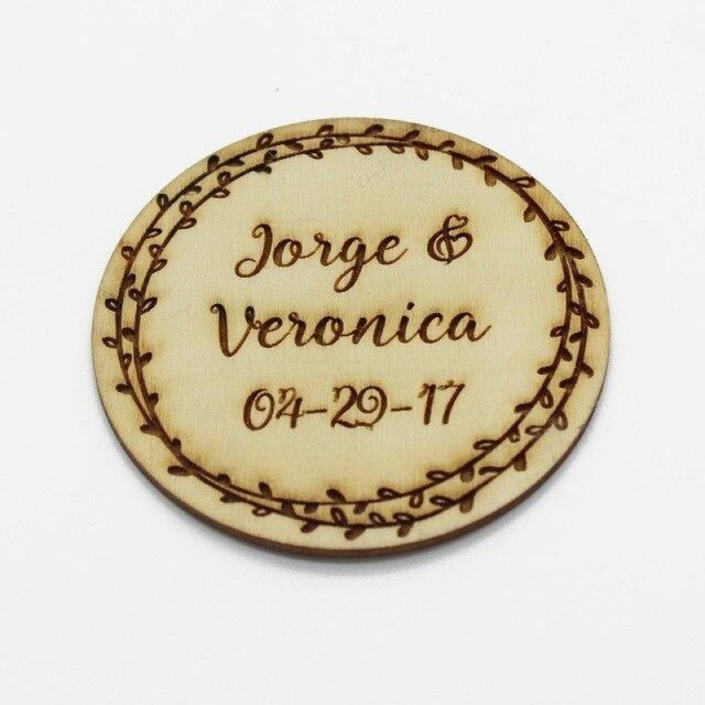 4Pcs Wooden Round Bottle Decor Personalized Favors | Bridelily - Style 2 - botte Favors