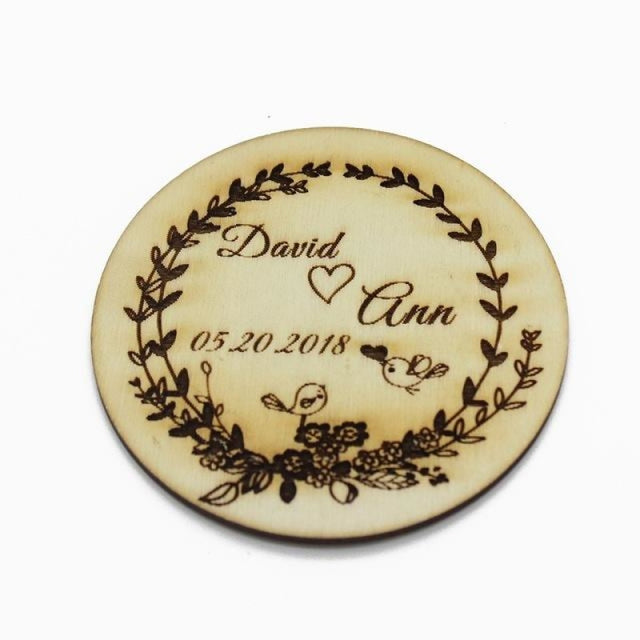 4Pcs Wooden Round Bottle Decor Personalized Favors | Bridelily - Style 3 - botte Favors